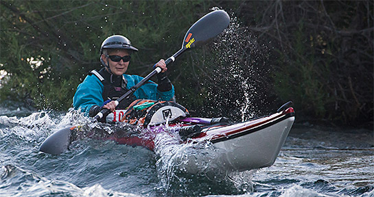 Guest contributor Krista Fechner races through a rapid in a sea kayak during the 2014 Cal100 adventure race.